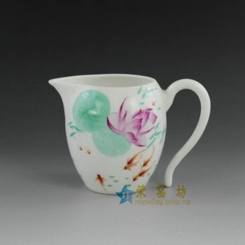 14OK41-B  手绘粉彩鱼乐畅游图公道杯