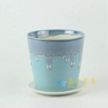 RYYF18陶艺流口釉花盆 花缸 花缽