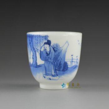 14U10-F  手绘青花山水风景人物图功夫茶杯 品茗杯