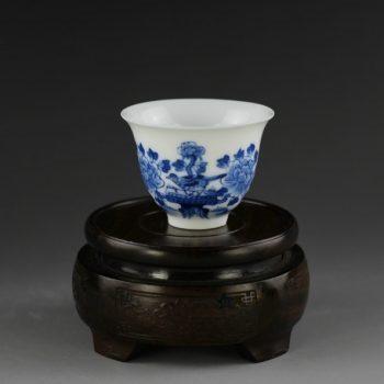 14U05-A 青花花鸟图功夫茶杯 品茗杯
