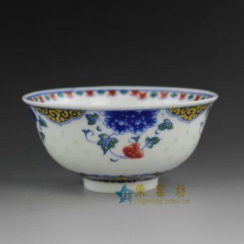 RZEG01 5684k12.5h6cc280景德镇陶瓷 青花斗彩花卉图案茶碗 汤碗 茶杯