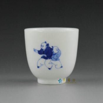 14U10-O景德镇陶瓷 手绘青花婴戏图功夫茶杯 品茗杯
