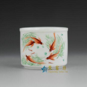 14ok74  手绘粉彩鱼乐畅游图茶杯 品茗杯