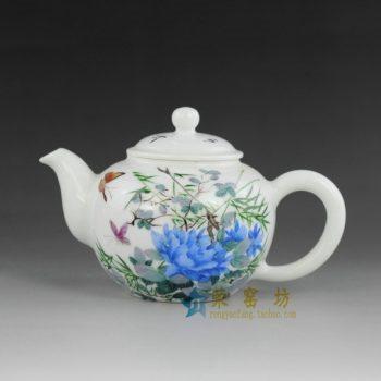 14ok68 手绘粉彩蝴蝶花卉图手柄茶壶 精品茶具