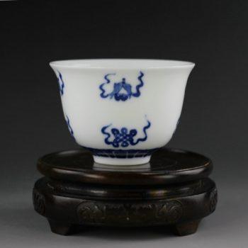 14U86-A 手绘青花绶带有鱼图功夫茶杯 品茗杯
