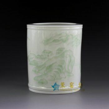 14AA34-c 青釉山水风景画笔筒 文具