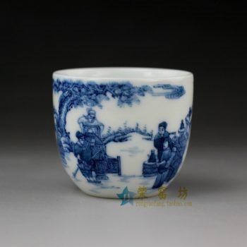 14UR21手绘青花斗茶图茶杯 品茗杯