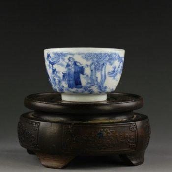 14UR06 手绘青花人物风景图茶杯 品茗杯