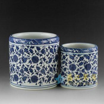 RZDY01-B 青花瓷缠枝花卉图笔筒