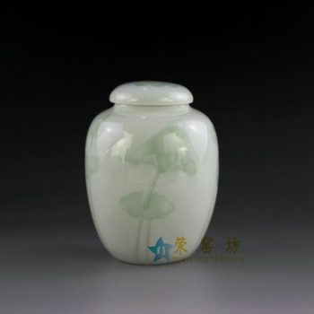 14AA04-a 青釉荷花图茶叶罐 盖罐 密封罐