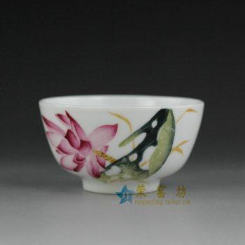 14ok72 手绘粉彩荷莲图茶碗 汤碗