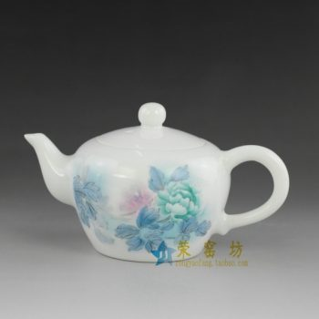 14No03 手绘粉彩富贵花开图手柄茶壶 精品茶具