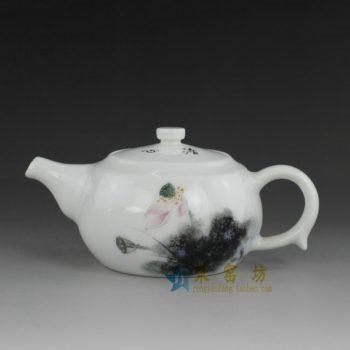 14No01 手绘粉彩荷莲图手柄茶壶
