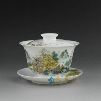 RYAG99  粉彩山水风景画盖碗 泡茶杯 精致茶具