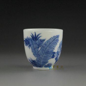 14U10-G  手绘青花蕉叶图功夫茶杯 品茗杯