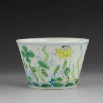 14BU62 手绘粉彩水草花卉茶碗 汤碗 茶杯