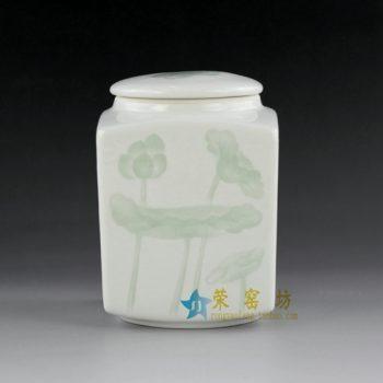 14AA03 青釉荷莲图茶叶罐 盖罐 密封罐