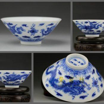 RZBE08 手绘仿古青花龙凤呈祥图茶碗 茶杯