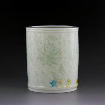 14AA34-b  青釉缠枝花卉笔筒 文具