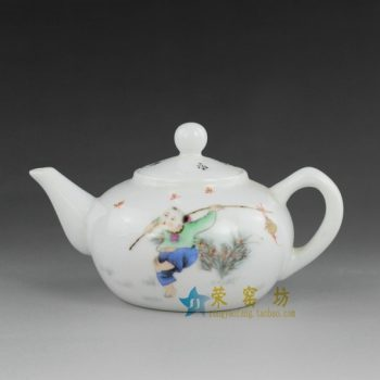 14DW23 手绘粉彩婴戏图手柄茶壶 精品茶具