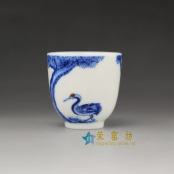 14U129-B手绘青花松鹤延年图茶杯 品茗杯