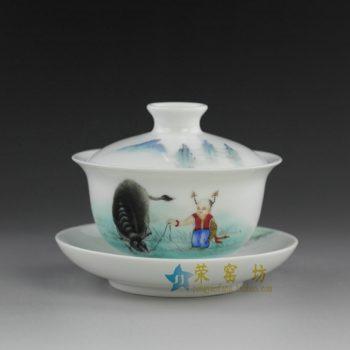 RYXP32 粉彩童子牧牛图盖碗 泡茶杯 精致茶具