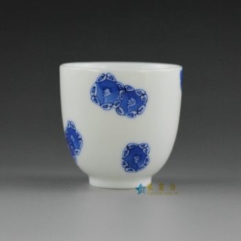 14U10-C手绘青花团花图功夫茶杯 品茗杯