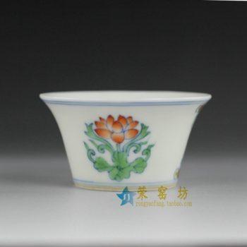 14BU63 手绘粉彩团花图茶杯 茶碗 汤碗