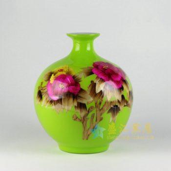 RZEE01-A 粉彩花卉图花瓶 花插 工艺装饰摆件