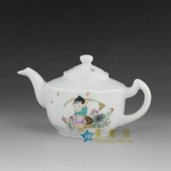14dw22手绘粉彩婴戏图手柄茶壶