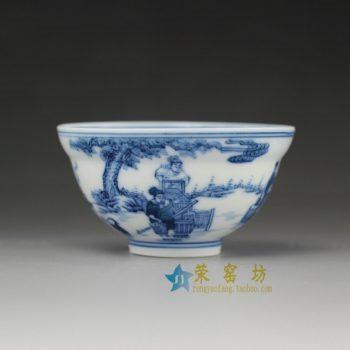 14UR25手绘青花风景人物图茶杯 品茗杯