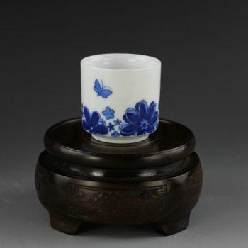 14AM97-d 手绘青花蝴蝶花卉图茶杯 品茗杯