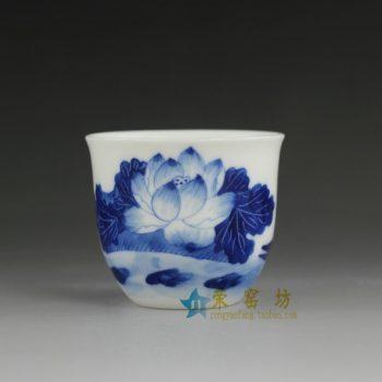 RYV162  手绘青花荷花莲蓬图茶杯 品茗杯