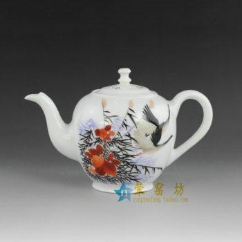14ok66 手绘粉彩芦苇丛飞鹤图手柄 茶壶 精品茶具