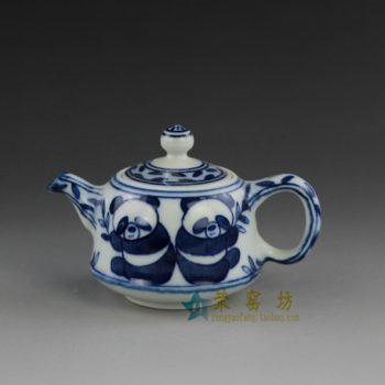 14o35 手绘青花熊猫欢乐图手柄茶壶 精致茶具