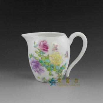 14TN17-A 手绘粉彩蝴蝶花卉图公道杯
