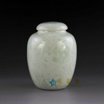 14AA04-b  青釉缠枝花卉图茶叶罐 盖罐 密封罐