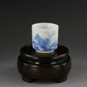 14AM97-B 青花山水风景画茶杯 品茗杯