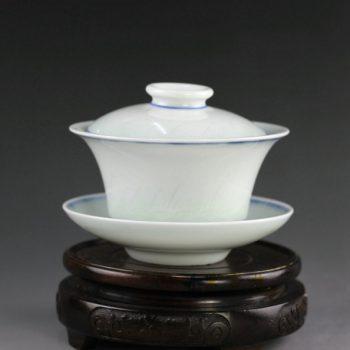 14AA31颜色釉蓝边环纹盖碗 泡茶杯