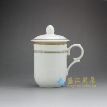 RYDY32-B 手绘金边圈纹茶杯 带盖手柄茶杯 品茗杯
