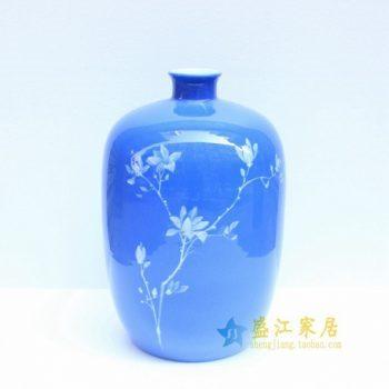 2u01-2手绘釉下彩花卉图冬瓜瓶 花瓶