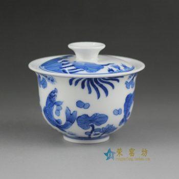14BS51手绘青花连年有余画盖碗 茶杯 品茗杯