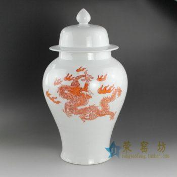 RYUX06 亚光手绘釉下彩腾龙图将军罐 盖罐 储物罐