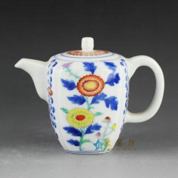 14AS01 手绘青花斗彩葵花图茶壶 茶具