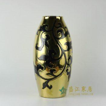 RYNQ169 颜色釉刻纹花卉图莲子瓶 花瓶