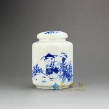 RZEJ01-A-09手绘青花童趣图茶叶罐 盖罐 密封罐