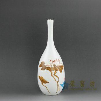 RZEA01 手绘亚光釉下彩荷莲图花瓶 花插