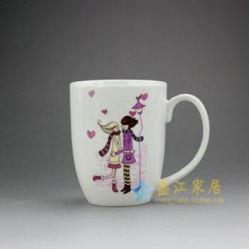 RYDY28 手绘粉彩现代浪漫情侣画茶杯 品茗杯 咖啡杯