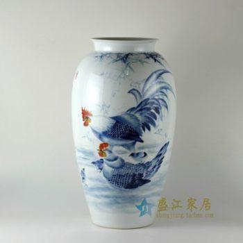 RZDN01 0手绘青花斗彩鸡趣图冬瓜瓶 花瓶