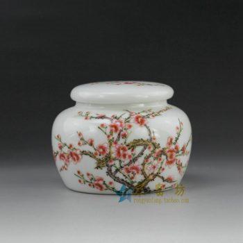RYOI05手绘粉彩梅花盛开图茶叶罐 盖罐 密封罐